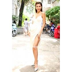 HÀNG CAO CẤP-Đầm 2 dây màu trắngthiết kế ôm body xẻ tà tuyệt đẹp