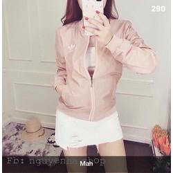 Áo khoác dù màu hồng dễ thương