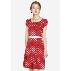 Đầm xòe màu đỏ chấm bi trắng