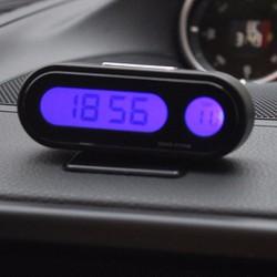 Đồng hồ điện tử tích hợp nhiệt kế dùng cho ô tô