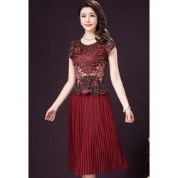 Hàng nhập-Đầm xòe ren thêu kim tuyến chân váy dập ly size M,L,XL,2XL