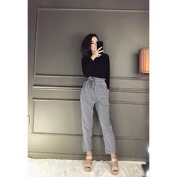 Set quần bo chun caro + áo thun đen tay dài