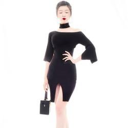 hàng cao cấp-Đầm đen lệch vai đẹp thiết kế ôm body tôn dáng