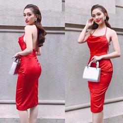 HÀNG THIẾT KẾ-Đầm phi bóng cổ yếm thiết kế ôm body tuyệt đẹp