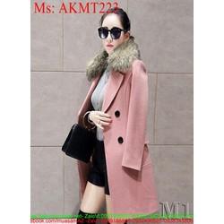Áo khoác dạ nữ công sở phối cổ lông sành điệu và thời trang