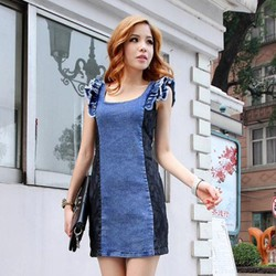 Đầm jean phối ren tay cánh tiên sành điệu - TP1461
