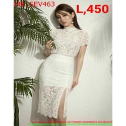Sét áo kiểu ngắn tay phối chân váy ôm xẻ đùi ren thời trang SEV463