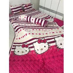 Bộ drap giường cotton nhung cao cấp Hello Kitty - XN081