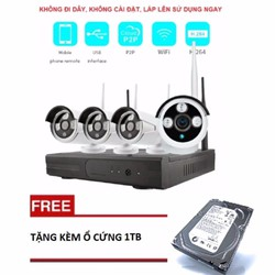 Bộ 4 Camera Thân IP Wifi Elitek 720P + Đầu Ghi NVR HD