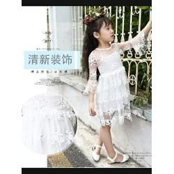 Đầm ren thêu nổi bé gái cổ tròn tay loe Hàng nhập