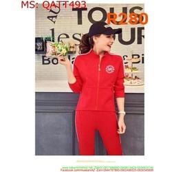 Bộ thể thao nữ áo khoác cổ trụ phối quần dài sọc viền QATT493