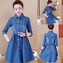 Đầm Jeans xòe phối cúc - hàng nhập Quảng Châu cao cấp