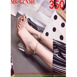 Giày cao gót quai và gót trong suốt thời trang