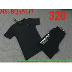 Sét thể thao nam áo ngắn tay phối quần short logo armorBQAN117
