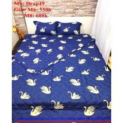 Bộ dra giường hình chim cò trắng trên nền xanh đẹp