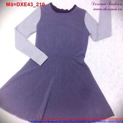 Đầm xòe tay dài phối 2 màu trẻ trung DXE43