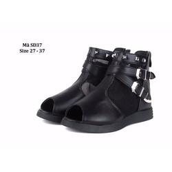 Giày Sandal da kiểu kéo khóa cho bé gái 3 - 8 tuổi