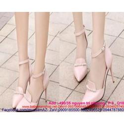 Giày cao gót mũi nhọn đính ngọc trai sang trọng dễ thương
