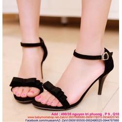 Giày cao gót hở mũi đen cá tính đính nơ xinh đẹp