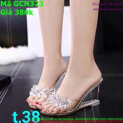Giày cao gót nữ quay ngang đính hạt sành điệu GCN323