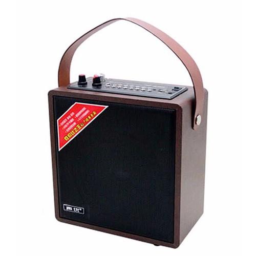 Loa gỗ bluetooth karaoke xách tay dây da a061 kèm mic