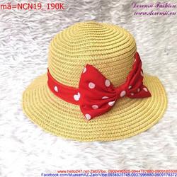 Nón cối nữ thắt nơ chấm bi phong cách thời trang nữ tính NCN19