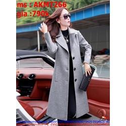 Áo khoác dạ nữ măng tô có túi sang trọng và thời trang