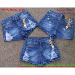 Quần short jean nữ lưng cao xước rách sành điệu