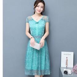 Đầm Họa tiết voan lụa Trang nhã - Hàng nhâp - DX0389