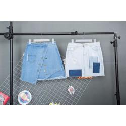 Chân váy jeans nút