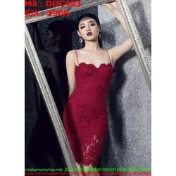 Đầm ôm cúp 2 dây ren đỏ sang trọng thời trang