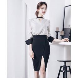 HÀNG NHẬP-SET ÁO SƠ MI CHÂN VÁY BODY SANG TRỌNG ST767