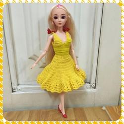 Búp bê công chúa Hàn Quốc - đầm len vàng đính nơ