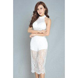 Set ren áo yếm croptop+váy body