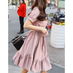 Đầm Tay Con Tùng Xòe Cách Điệu Kèm Dây Nơ - Hồng