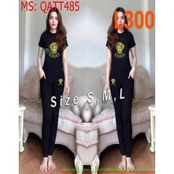 Bộ thể thao nữ phối quần dài hình người phong cách QATT48