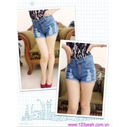 Quần short jean nữ rách lưng cao bụi bặm sành điệu