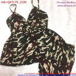 Bộ đồ nữ áo 2 dây quần short rằn ri phong cách sành điệu QATL79