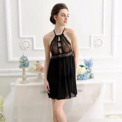Váy Ngủ Ren Đen Ngực Form Áo Yếm Quyến Rũ CDAN59