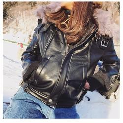 áo khoác da cổ lông