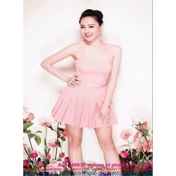 Sét áo croptop cúp ngang và chân váy xòe xếp ly hồng dễ thương