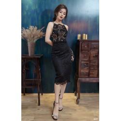 Đầm body ren đen hở lưng sexy 2027