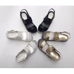 Giày Sandal quai ngang cắt lazer đế bằng cao 5cm