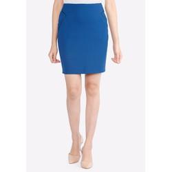 Chân váy công sở xanh da trời cạp liền