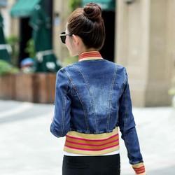 áo khoác jean phối sọc thun