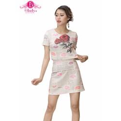 Sét áo tay ngắn chân váy in hoa hồng