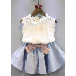 Set áo ren bé gái và chân váy đính nơ