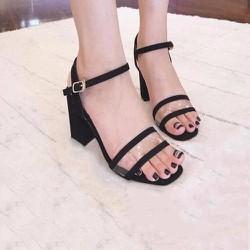 Giày cao gót hở mũi quai trong màu đen