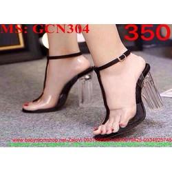 Giày cao gót quai hậu gót trong suốt thời trang