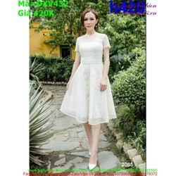 Đầm xòe dự tiệc màu trắng vải đẹp tôn dáng đẹp DXV432